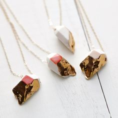 Tiny Porcelain Crystal Necklace in 14k Gold by redravenstudios