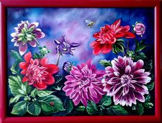 Oil painting, Flowers, Dahlias, Bright picture, Gift for her, Gift for mom. Painting in a frame, the size 43.5 х 33.5 cm (17 х 13 inches) Materials: oil on canvas. Author - Olga Derevoriz. Give yourself a good mood! This colorful picture will always delight you and your loved ones, it will enhance any area in your home. What could ever be better than a flower arrangement that will never wither... Besides, the picture can be a perfect present on any occasion may it be Mothers day…