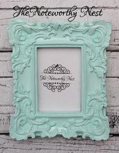 Mint green ornate frame // Mint frame //Mint decor // 4x6 frame / ornate frame //unique frame / nursery frame / girls bedroom / pastel frame by TheNoteworthyNest on Etsy