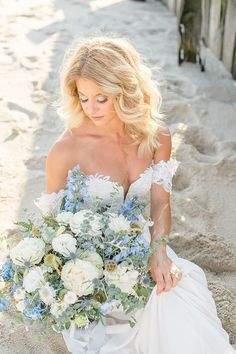 Concept   Photography: Courtney Simpson Photography | Stylist   Coordinator: Devoted Wolf Events | Floral Design: Layers of Lovely Floral Design Blue Wedding, Wedding Flowers, Wedding Dresses, Groom Looks, Strictly Weddings, Button Up Dress, Coastal Wedding Ideas, Wedding Pictures, Getting Married