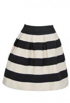 Bold Black and Ivory Textured Stripe Skirt
