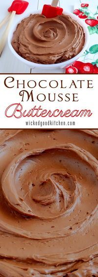 Chocolate Mousse Buttercream Frosting (3 ways) ~ Rich Milk Chocolate Mousse Buttercream made from a chocolate ganache base that is creamy, light and fluffy. Sweetened just right and pipes beautifully, this frosting tastes just like Chocolate Mousse! Variations include Dark Chocolate Mousse Buttercream and Mocha Mousse Buttercream. | corn free dessert frosting recipe