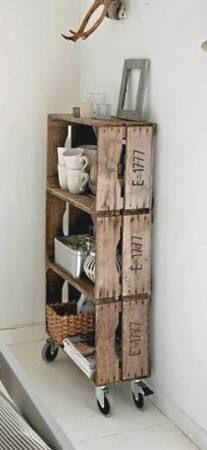 pallet shelf cajas de madera de las frutas se pueden conseguir mas facil que los pallets y solo agregar rueditas #fantastico