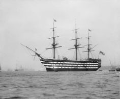 HMS Victory Nelson's flagship at the Battle of Trafalgar anchored in Portsmouth Harbour in 1909.