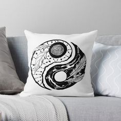 Feathers Yin Yang by kenallouis | Redbubble Line Artwork, Contemporary Artwork, Yin Yang, Line Drawing, Abstract Expressionism, Feathers, Throw Pillows, Cushions, Contemporary Art
