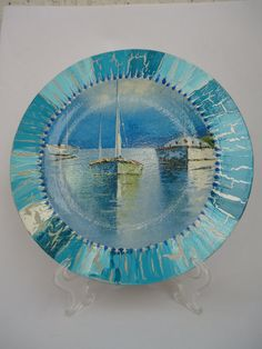 "Wooden plate ""Blue Summer Dreams"", decoupage, crackled blue and silver, gift,"