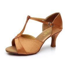 New Women's Ballroom Tango Latin Dance Shoes PU Satin Dancing Heels Salsa Shoes 5cm/7cm Heel Height