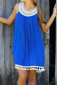 Edisto Island Indigo Sleeveless Crochet Detail Tassel Shift Dress