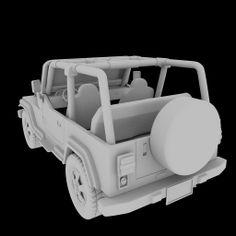 Jeep Back Clay Render Blender 3D Model