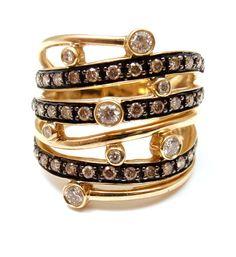 Beautiful LeVian 14k Yellow Gold Chocolate and White Diamond Multi Row Ring 7 5 $1800 | eBay