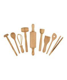 Brown Kids' Wood Kitchen Tool Set