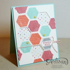 Six Sided Sampler stamp set, I Am Me DSP,  Hexagon Punch,  Candy Dots