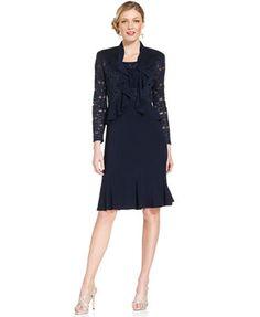 R&M Richards Sleeveless Sparkle Ruffle Dress and Jacket