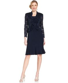 R&M Richards Sleeveless Sparkle Ruffle Dress and Jacket at Macys