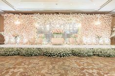 Alex and Vina's wedd Reception Stage Decor, Wedding Hall Decorations, Wedding Reception Design, Luxury Wedding Decor, Pearl Decorations, Wedding Reception Backdrop, Romantic Wedding Decor, Backdrop Decorations, Wedding Car