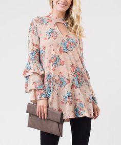 Take a look at this Love In Peach Blossom Ruffle Keyhole Swing Tunic today!