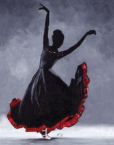 Original Acrylic Painting on Canvas 'Leon' 11x14 Flamenco Dancer Ballet Modern Contemporary. $170.00, via Etsy.