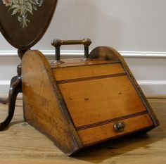 Antique English Mahogany and Brass Coal Scuttle. from streetsoflondonantiques on Ruby Lane