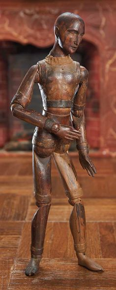 "12"" 19th century wooden artist's mannequin with unusual leather bands. http://Theriaults.com"