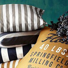 Striped Cotton Canvas Throw Pillow Cover
