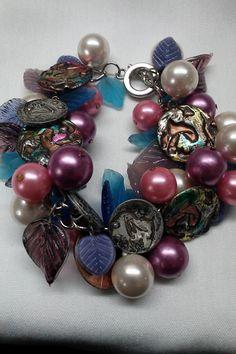 Lunar EclipseTieDye Vintage Button & Bobble by bluehoneyjewelry, $52.00