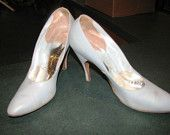 1950's Handmade Stilletos. What is it about the ice blue-gray color? I am loving it. From The Hope Chest.