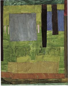 [Vanessa Bell, Composition circa 1914, oil and gouache on collaged paper,