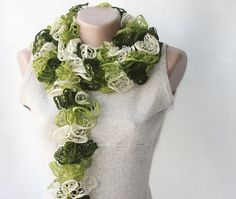 Green knit scarf  winter accessories fall spring by violasboutique, $30.00