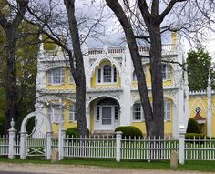 Wedding Cake House, Kennebunk, Maine I remember driving by this - always looked so pretty