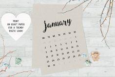 Modern calligraphy calendar 2017 - printable monthly calendar by My Color Mood