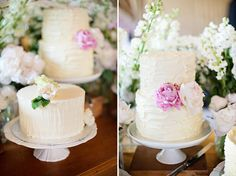 Rustic butter cream double height cake with flowers