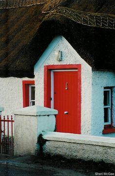 Red door & thatched roof, Sligo, Ireland