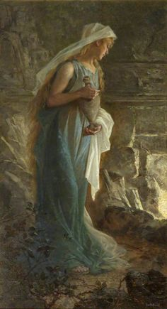 Janette Catherine Russell, Mary Magdalene coming to the sepulchre, oil on canvas, cm Royal West of England Academy, Bristol Inv. Mary Of Bethany, Mary I, Mary Magdalene And Jesus, Lady Of Lourdes, Sacred Feminine, Art Academy, John The Baptist, Art Uk, Sacred Art