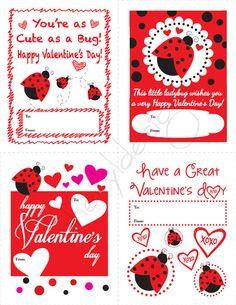 Child's Classroom Ladybug Valentine Cards  DIY by cherylkaydesigns, $10.00
