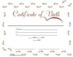 A Printable Birth Certificate For A Baby Girl Featuring A Ribbon