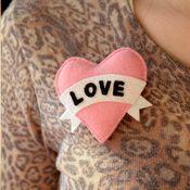 Love Vintage Tattoo Style Heart Brooch