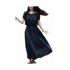 Vestidos maxi - Oscuro vestido de lino de color azul con las manga - hecho a mano por buuki en DaWanda