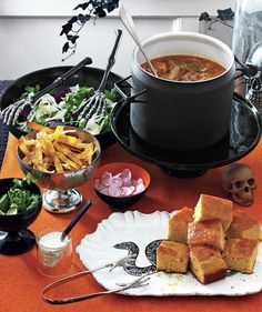 The ultimate Halloween party entree: Fill the table with corn bread, a big green salad, and a batch of tortilla soup.