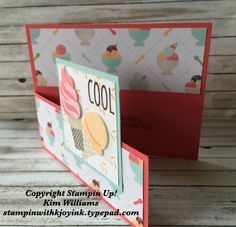 Unique Card Folds Dutch Door Fold with Cool Treats stamp set is part of Birthday crafts Stampin Up Today I want to share with you a card fold called Dutch Door Fold I was in my friend Linda Bauwi - Fun Fold Cards, Cool Cards, Folded Cards, Joy Fold Card, Unique Cards, Creative Cards, Stampin Up Anleitung, Karten Diy, Shaped Cards
