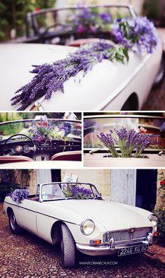 Floriane Caux Photographe de Mariage - De jolis Mariages - Toulouse, Ariège. Mustang décorée avec de la lavande