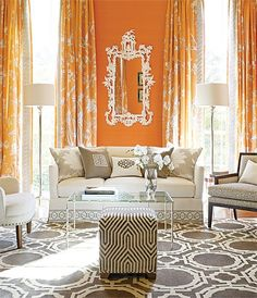 A vibrant living room by LA Interior Designer Mary McDonalds Trim This trim is going on my dining wing chairs!