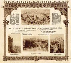 Dépliant du syndicat d'initiative de Carcassonne illustré en 1907 par l'ancien secrétaire de l'Association des Amis de la Ville et de la Cité de Carcassonne, Henry SIVADE (1865-1965). Collection: Chroniques de Carcassonne