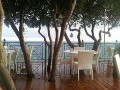 Cartoline dal Salento: terrazza di un noto ristorante a Santa Cesarea Terme dopo la pioggia.
