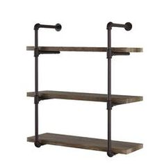 danya b urbanne industrial aged tiered wood print mdf and metal pipe floating wall shelf gh the home depot Industrial Wall Shelves, Glass Wall Shelves, Wall Shelf Decor, Solid Wood Shelves, Cube Shelves, Wood Wall Shelf, Wood Floating Shelves, Wall Mounted Shelves, Wooden Shelves