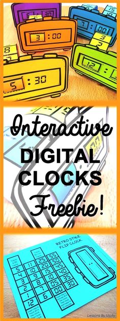 """These interactive flip clocks will be a hit with students! Make them at the start of a telling time unit to spark student enthusiasm. Use them when students are learning to tell time to the hours or the minutes. The hours and the minutes move when the dials are pulled. Students can decorate the frames of the clocks to personalize them. These clocks are easy to assemble. Each one takes less than five minutes to make. Digital flip clocks date back to the 1970's! Its' a """"RETRO-RESOURCE""""!"""