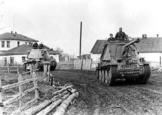 German Marder II self-propelled tank-destroyers driving through a town in the Ukraine.
