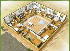 17 Best images about arquitectura Small House Plans, House Floor Plans, The Plan, How To Plan, Hacienda Style Homes, Small Living Room Layout, Casa Patio, Courtyard House Plans, Mexico House