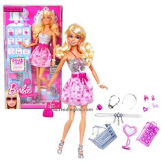 Mattel Year 2009 Barbie Fashionistas Series 12 Inch Doll Playset T5501 - SHOPPING SPREE with Barbie Doll in Strapless Dress with Earrings, Purse, Jewelry Box, Shopping Basket, Headband and Lots of Other Accessories