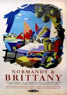 ✨ Nevin - Normandie & Brittany, Lithograph in colours, (circa) 1955