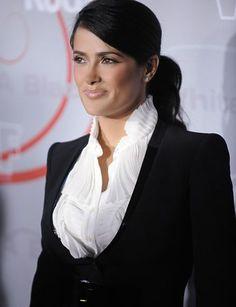 Curvy/Petite Salma Hayek. V-neck creates length. Broad, structured shoulders balance hips.